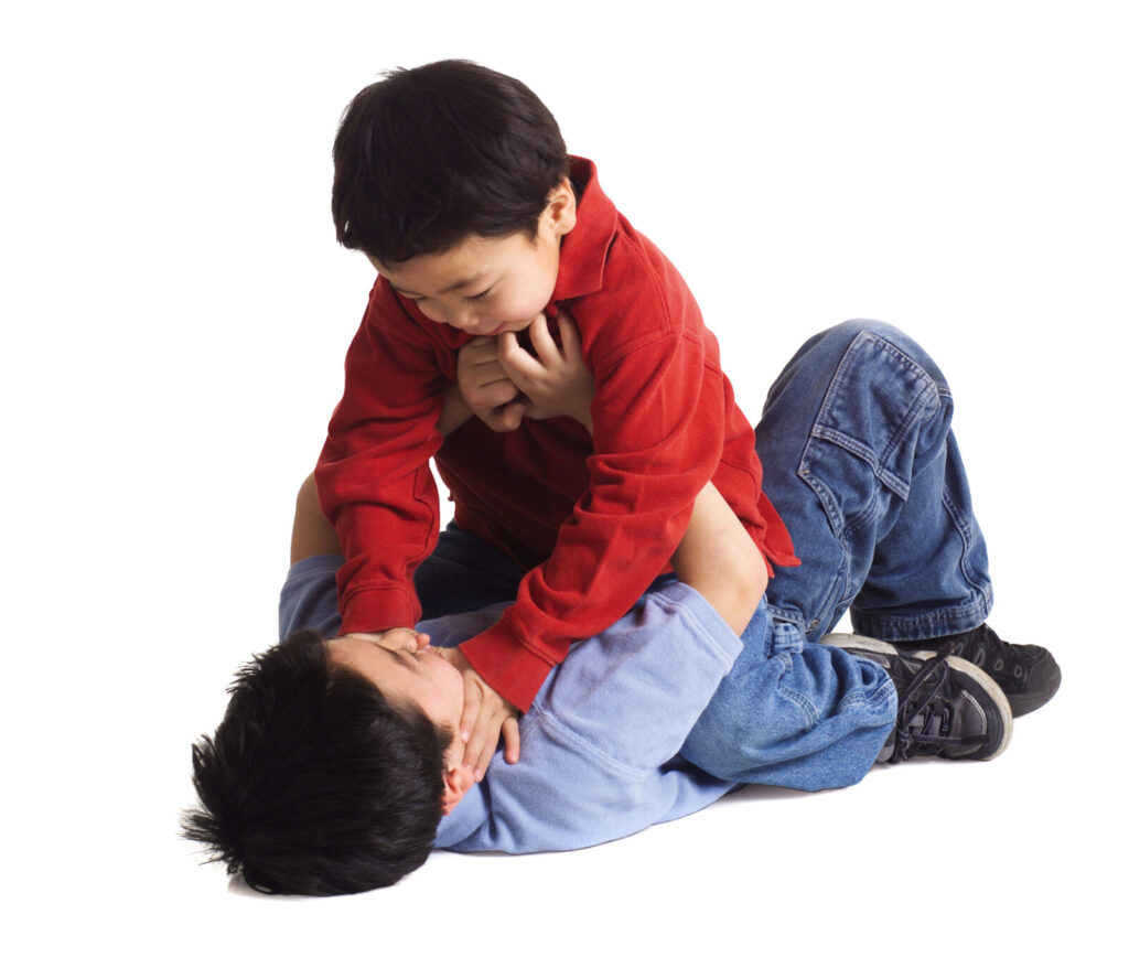 Two boys fighting. Stop sibling rivalry